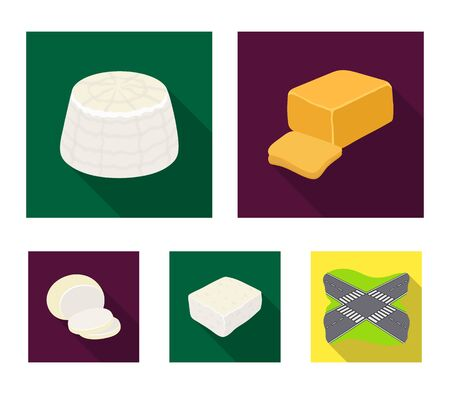 Mozzarella, feta, cheddar, ricotta.Different types of cheese set collection icons in flat style vector symbol stock illustration web.