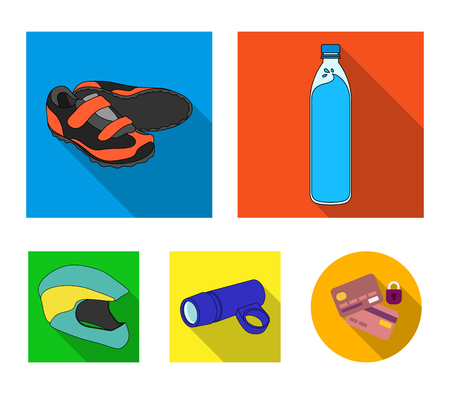 A bottle of water, sneakers, a flashlight for a bicycle, a protective helmet.Cyclist outfit set collection icons in flat style vector symbol stock illustration .