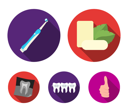 Mint chewing gum with mint leaves, toothbrush with bristles, bregettes with teeth, X-ray of the tooth. Dental care set collection icons in flat style vector symbol stock illustration web.