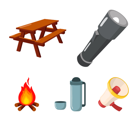 A flashlight, a table with a bench, a thermos with a cup, a caster. Camping set collection icons in cartoon style vector symbol stock illustration . Illustration