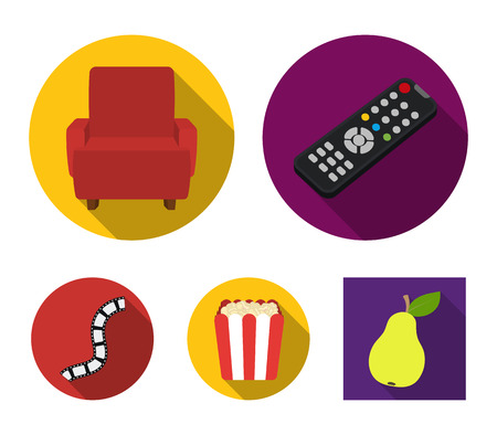 Control panel, an armchair for viewing, popcorn.Films and movies set collection icons in flat style vector symbol stock illustration web.