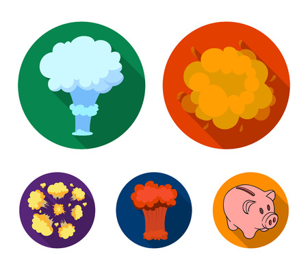 Explosions set collection icons in flat style vector symbol stock illustration web. Banco de Imagens - 96550799