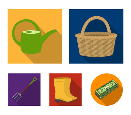 Basket wicker, watering can for irrigation, rubber boots, forks. Farm and gardening set collection icons in flat style vector symbol stock illustration web.