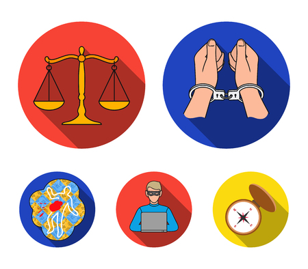 Handcuffs, scales of justice, hacker, crime scene.Crime set collection icons in flat style vector symbol stock illustration web. Vettoriali