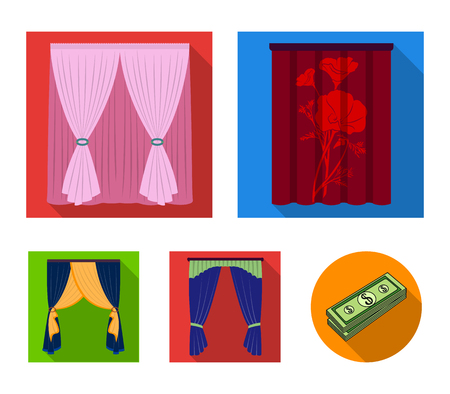 Cornices, garters, ribbon and other web icon in flat style.Machine, textiles, furniture icons in set collection.
