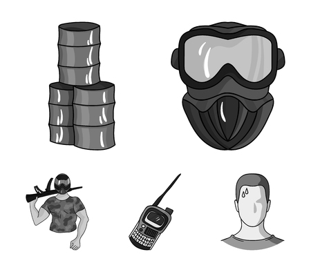 Equipment, mask, barrel, barricade .Paintball set collection icons in monochrome style vector symbol stock illustration web.