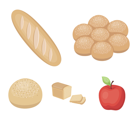 Bread set collection icons in cartoon style vector symbol stock illustration web. Illustration