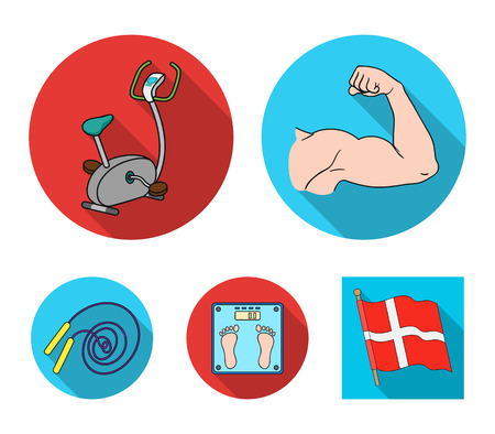 Biceps, exercise bike, scales for weighing, skalka. Fitnes set collection icons in flat style vector symbol stock illustration web. Foto de archivo - 96499941