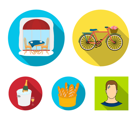 France country set collection icons in flat style vector symbol stock illustration web.