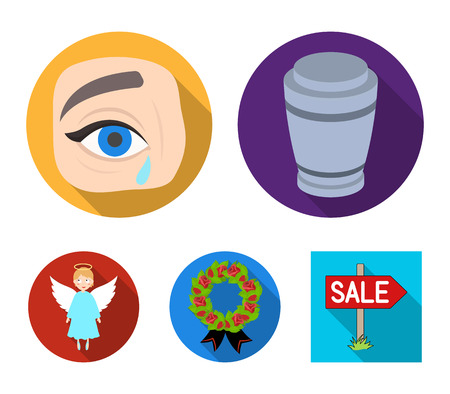 The urn with the ashes of the deceased, the tears of sorrow for the deceased at the funeral, the mourning wreath, the angel of death. Funeral ceremony set collection icons in flat style vector symbol stock illustration web.