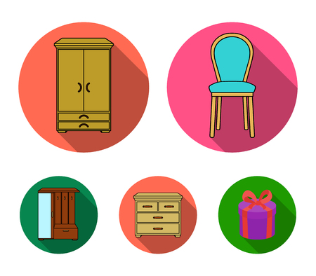 Armchair, cabinet, bedside, table .Furniture and home interiorset collection icons in flat style vector symbol stock illustration web.