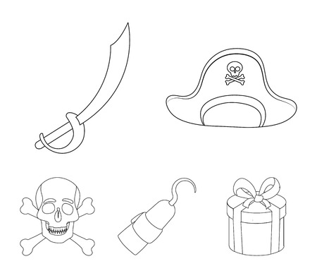 Pirate, bandit, cap, hook .Pirates set collection icons in outline style vector symbol stock illustration web.