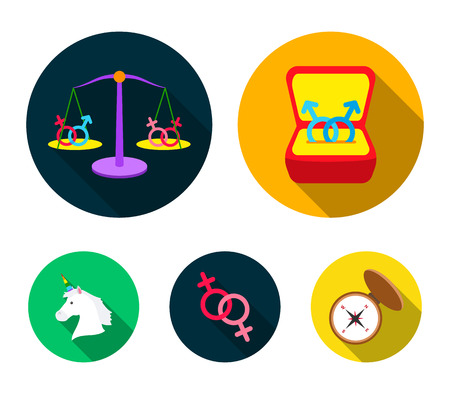 A Gay set collection icons in flat style vector symbol stock illustration web. Imagens - 96550811