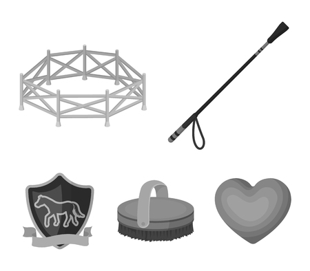 Aviary, whip, emblem, hippodrome .Hippodrome and horse set collection icons in monochrome style vector symbol stock illustration web. 向量圖像