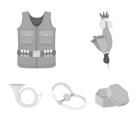 A trophy in his hand, a steel trap, a hunting vest with patronage, a horn..Hunting set collection icons in monochrome style vector symbol stock illustration web. Illustration