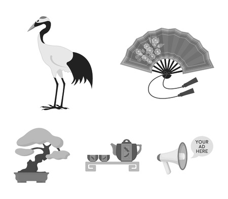 Fan, red crown crane, tea ceremony, bonsai.Japan set collection icons in monochrome style vector symbol stock illustration web.