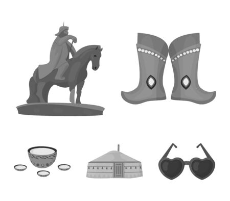 Military boots, a monument to the rider, a national tent, a milk drink. Mongolia set collection icons in monochrome style vector symbol stock illustration web. Иллюстрация