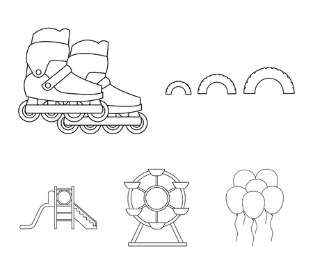 Ferris wheel with ladder, scooter. Playground set collection icons in outline style vector symbol stock illustration web.