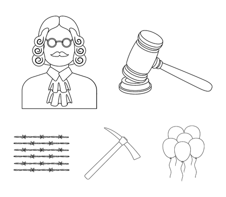 Judge, wooden hammer, barbed wire, pickaxe. Prison set collection icons in outline style vector symbol stock illustration web. Иллюстрация