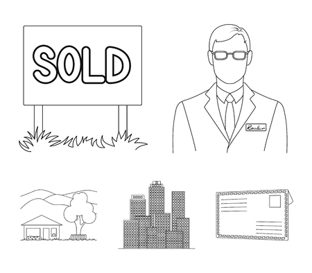 Employee of the agency, sold, metropolis, country house. Realtor set collection icons in outline style vector symbol stock illustration web. Illustration