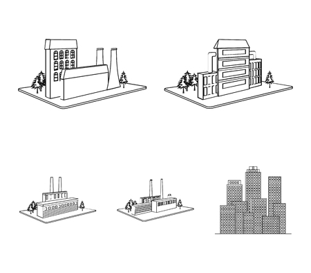Processing factory,metallurgical plant. Factory and industry set collection icons in outline style isometric vector symbol stock illustration web. Stock Illustratie
