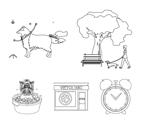 Walking with a dog in the park, combing a dog, a veterinarians office, bathing a pet. Vet clinic and pet care set collection icons in outline style vector symbol stock illustration web.
