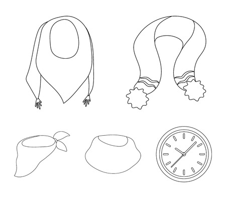 Various kinds of scarves, scarves and shawls. Scarves and shawls set collection icons in outline style vector symbol stock illustration web.