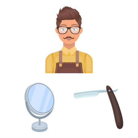 Barbershop and equipment cartoon icons in set collection for design. Haircut and shave vector symbol stock web illustration.