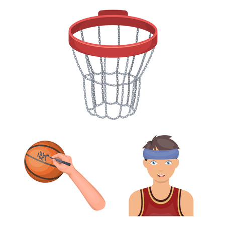 Basketball and attributes cartoon icons in set collection for design.Basketball player and equipment vector symbol stock web illustration.