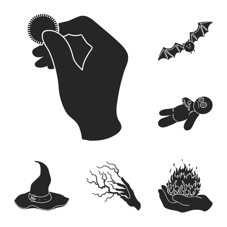 Black and white magic black icons in set collection for design. Attributes and sorceress accessories vector symbol stock web illustration.