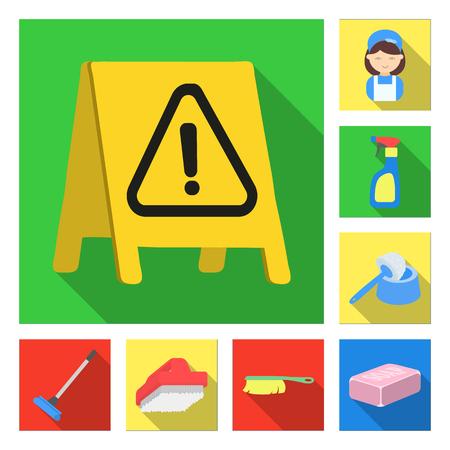 Limpieza y limpieza de iconos planos en conjunto para el diseño. Equipo para la limpieza de ilustración vectorial símbolo stock web.