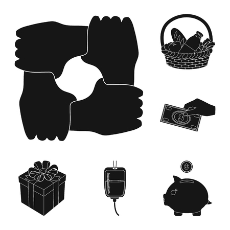 Charity and donation black icons in set collection for design. Material aid vector symbol stock web illustration.