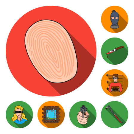 Crime and Punishment flat icons in set collection for design.Criminal vector symbol stock web illustration. Stock Vector - 96825522