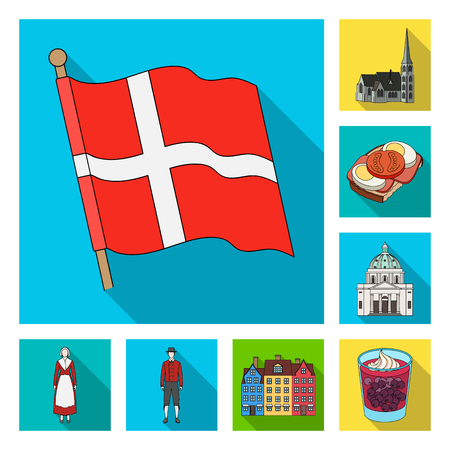Traveling in Denmark flat icons in set collection for design. Denmark and attractions vector symbol stock web illustration.