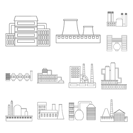 Factory and facilities outline icons in set collection for design. Factory and equipment vector symbol stock web illustration.