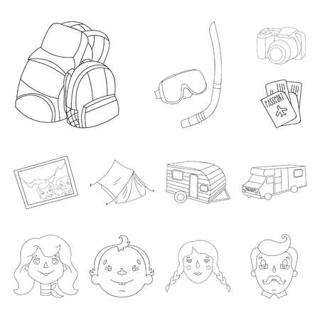 Family holiday outline icons in set collection for design. Recreation and equipment. vector symbol stock web illustration. Vettoriali