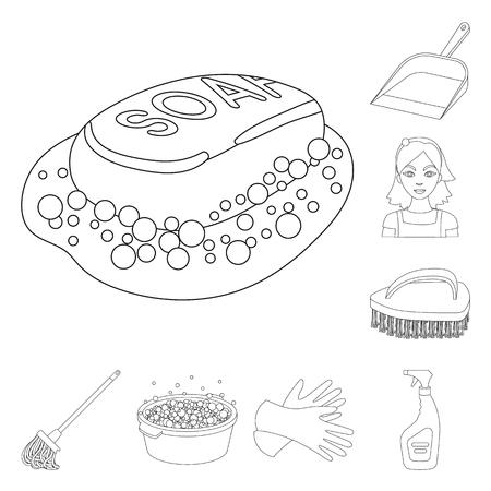 Limpieza y limpieza de iconos de contorno en conjunto para el diseño. Equipo para la limpieza de ilustración vectorial símbolo stock. Ilustración de vector