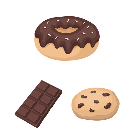 Chocolate Dessert cartoon icons in set collection for design. Chocolate and Sweets vector symbol stock web illustration. Ilustração