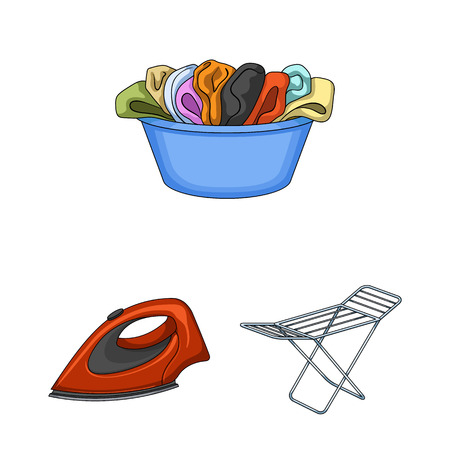 Dry cleaning equipment cartoon icons in set collection for design. Washing and ironing clothes vector symbol stock illustration. 免版税图像 - 97344627