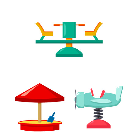 Playground, entertainment cartoon icons in set collection for design. Attraction and equipment vector symbol stock web illustration.