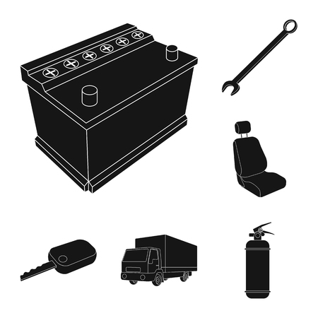 Car, vehicle black icons in set collection for design. Car and equipment vector symbol stock  illustration. Illustration