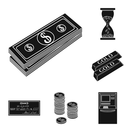 Money and Finance black icons in set collection for design. Business and Success vector symbol stock illustration.  イラスト・ベクター素材