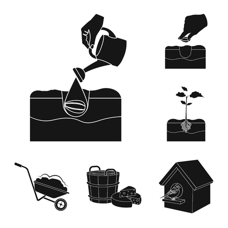 Farm and agriculture black icons in set collection for design. Garden and plants isometric vector symbol stock illustration. Vettoriali