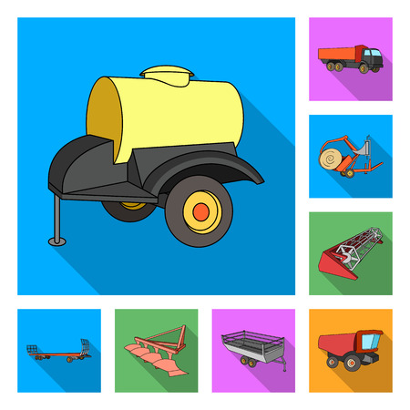 Agricultural machinery flat icons in set collection for design. Equipment and device vector symbol stock illustration. Stock Illustratie