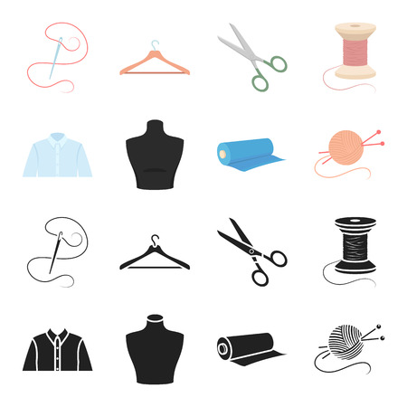 A mans shirt, a mannequin, a roll of fabric, a ball of threads and knitting needles. Atelier set collection icons in black, cartoon style vector symbol stock illustration Illustration