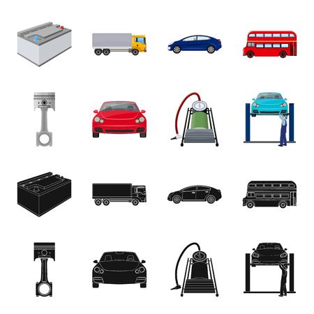 Voiture sur l'ascenseur, le piston et la pompe noir, icônes de dessin animé dans la collection de jeu pour la conception. Station d'entretien de voiture vecteur symbole stock illustration web.
