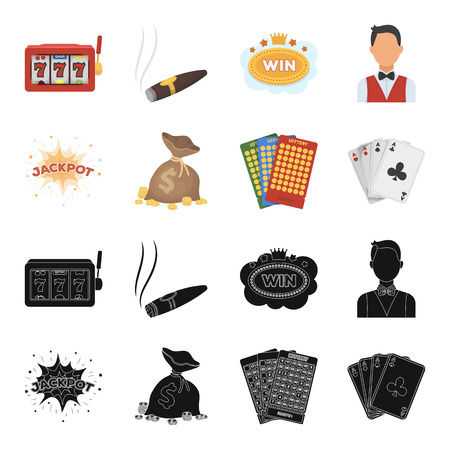 Jack sweat, a bag with money won, cards for playing Bingo, playing cards. Casino and gambling set collection icons in black,cartoon style vector symbol stock illustration web. Ilustração