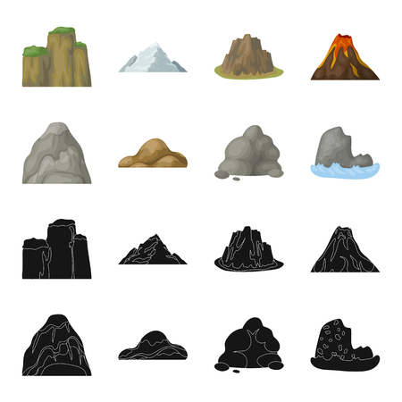 Boulders, a rounded mountain, rocks in the sea. Different mountains set collection icons in black,cartoon style vector symbol stock illustration web. Vettoriali
