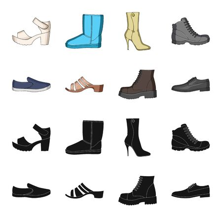 A set of icons on a variety of shoes.Different shoes single icon in black,cartoon style vector  symbol stock illustration. 일러스트