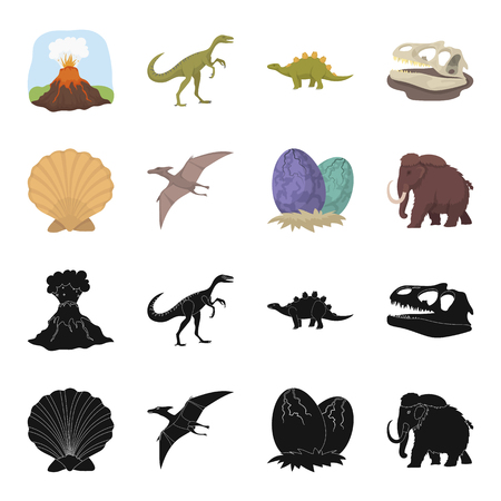 Prehistoric shell, dinosaur eggs,pterodactyl, mammoth. Dinosaur and prehistoric period set collection icons in black,cartoon style vector symbol stock illustration web.